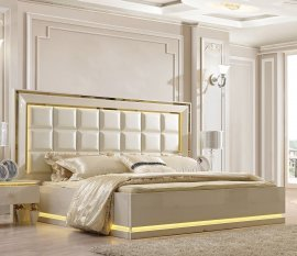 Traditional California King Bedroom Set 5 PCS in White Leather Traditional Style Homey Design HD-9935