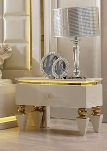 Traditional Nightstand in White Wood Traditional Style Homey Design HD-9935