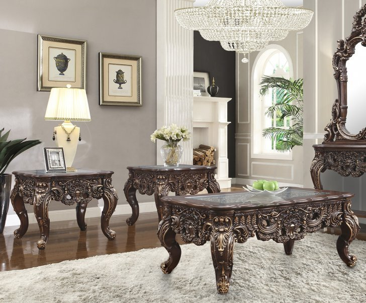 Traditional Coffee Table Set 3 Pcs In, Glass Table Sets For Living Room