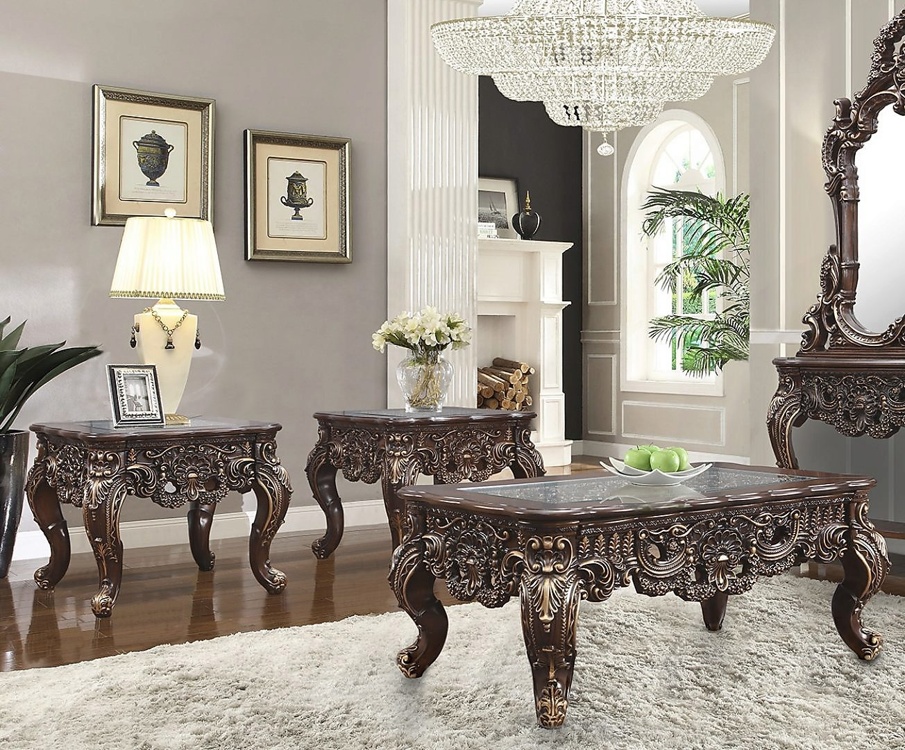 Traditional Coffee Table Set 3 PCS in Brown Wood,Glass Traditional Style Homey Design HD-998C
