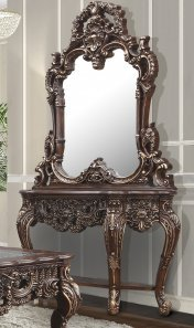 Traditional Console Table in Brown Wood,Glass Traditional Style Homey Design HD-998C
