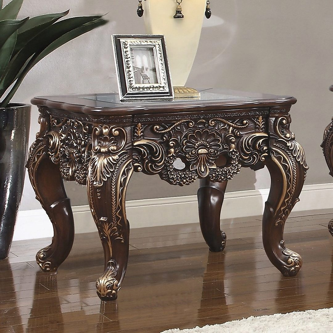 Traditional End Table in Brown Wood,Glass Traditional Style Homey Design HD-998C