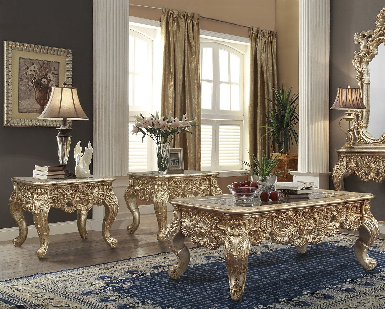 Traditional Coffee Table Set 3 PCS in Brown Wood,Glass Traditional Style Homey Design HD-998G