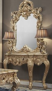 Traditional Console Table in Beige Wood,Glass Traditional Style Homey Design HD-998G