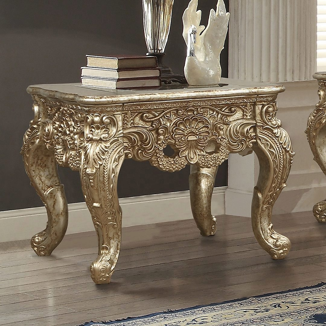 Traditional End Table in Beige Wood,Glass Traditional Style Homey Design HD-998G
