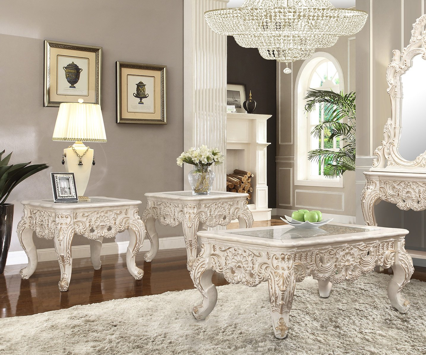 Traditional Coffee Table Set 3 PCS in Beige Wood,Glass Traditional Style Homey Design HD-998I