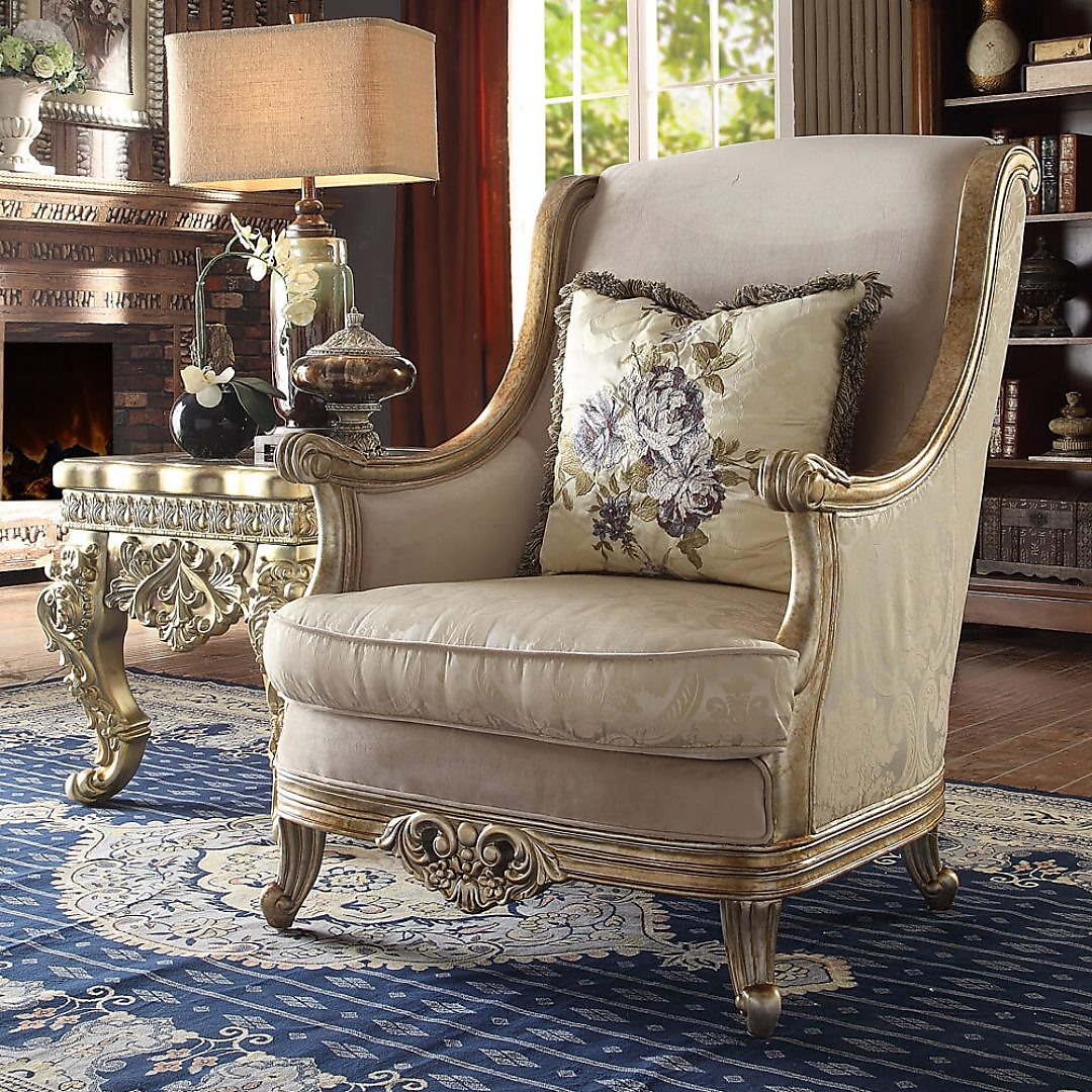 Traditional Chair in Yellow Fabric Traditional Style Homey Design HD-04
