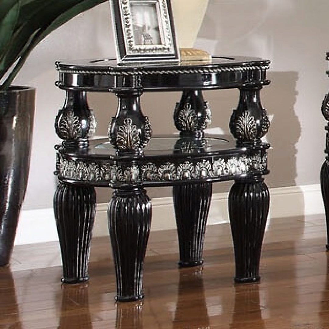 Traditional End Table in Black Wood Traditional Style Homey Design HD-1208