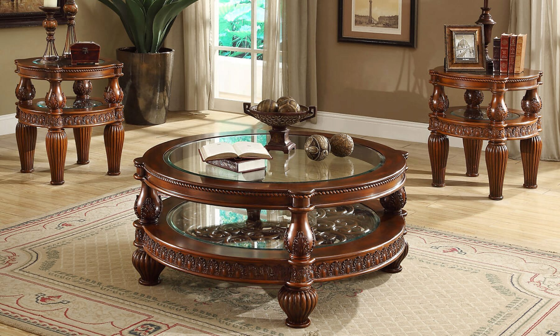 Traditional Coffee Table Set 3 PCS in Brown Wood Traditional Style Homey Design HD-1521
