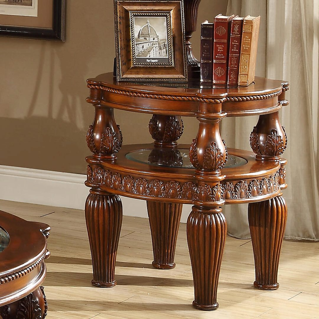 Traditional End Table in Brown Wood Traditional Style Homey Design HD-1521