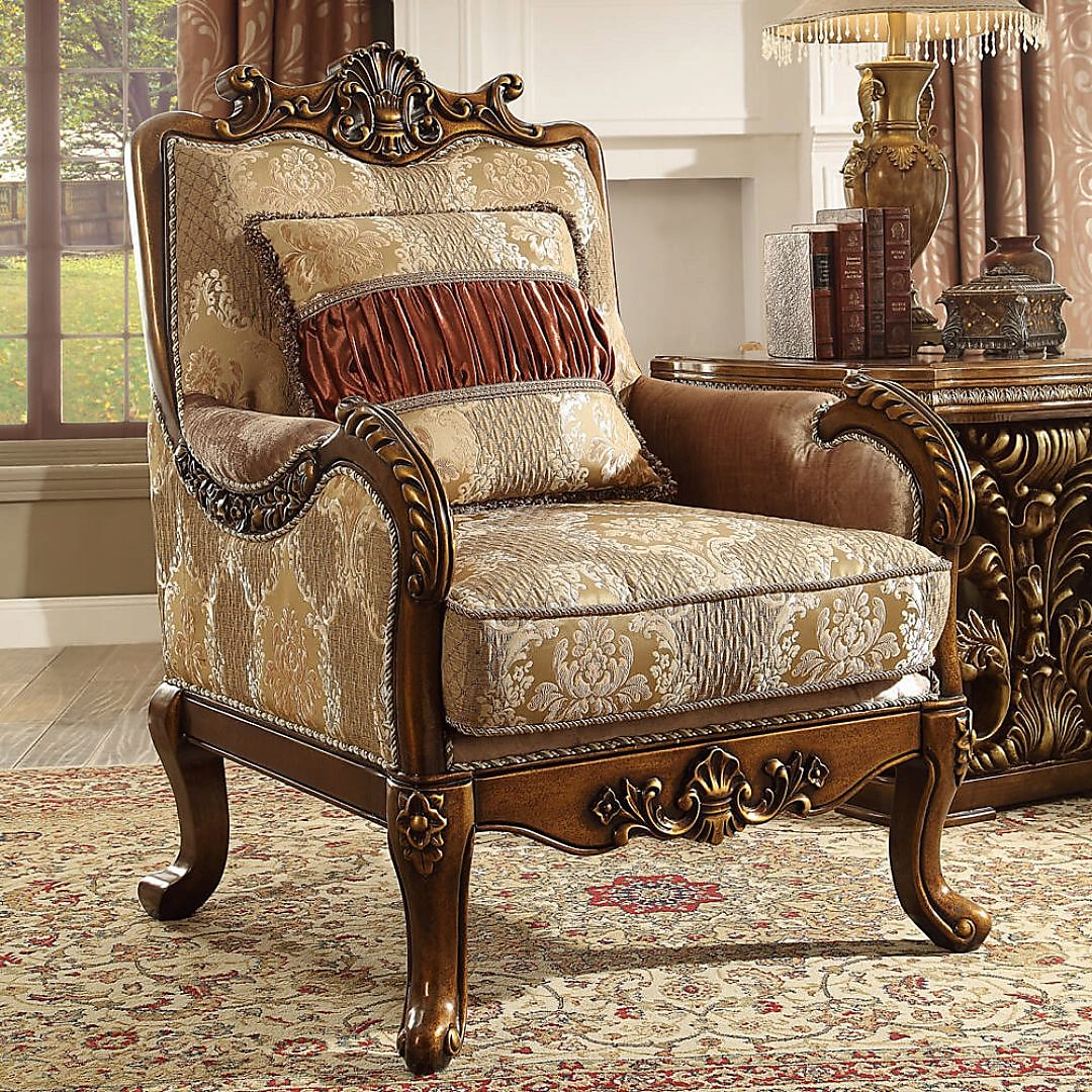 Traditional Chair in Brown Fabric Traditional Style Homey Design HD-1601