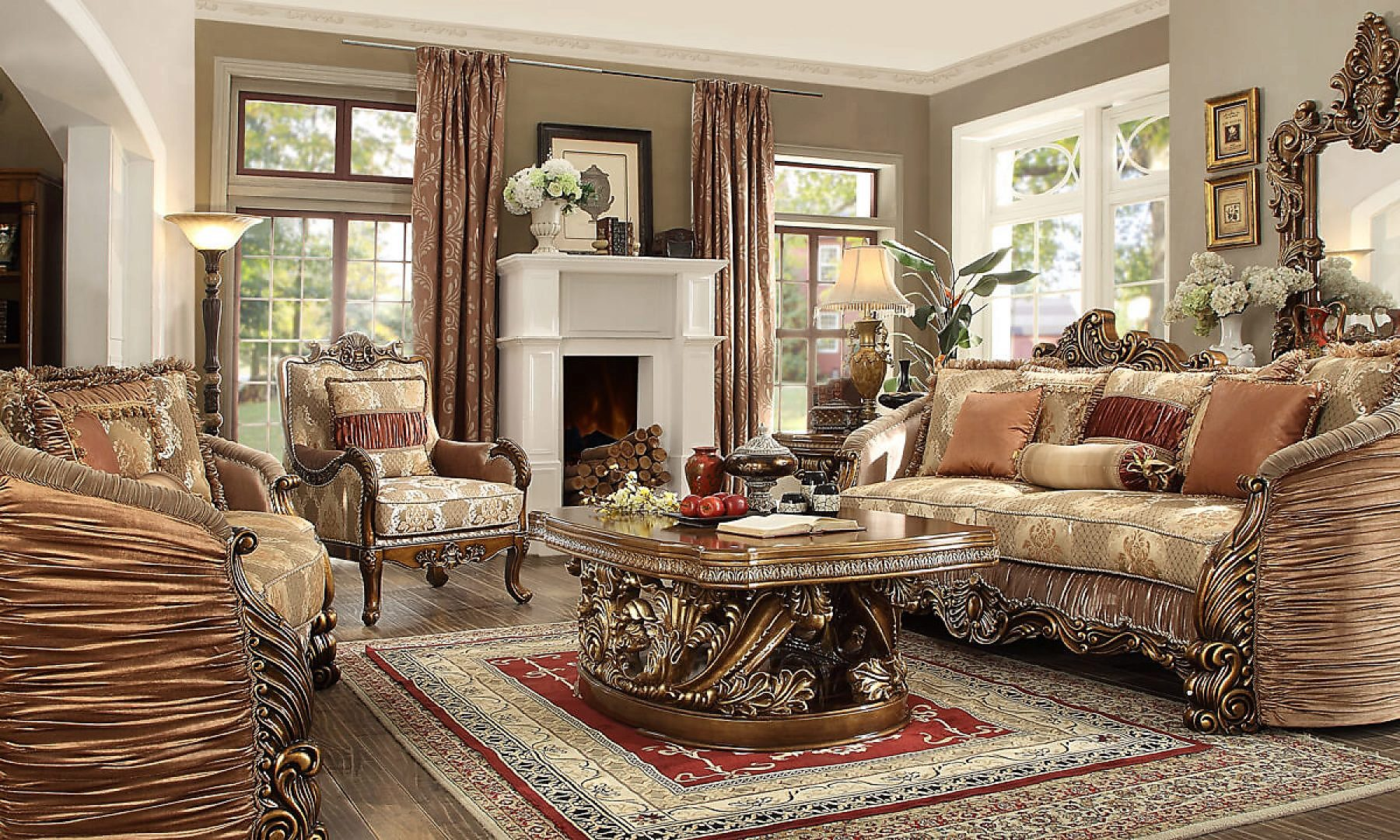 Traditional Living Room Set 3 PCS in Brown Fabric Traditional Style Homey Design HD-1601