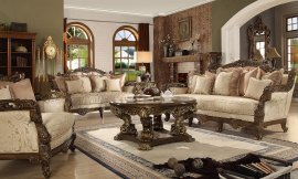 Traditional Living Room Set 3 PCS in Brown Fabric Traditional Style Homey Design HD-1609