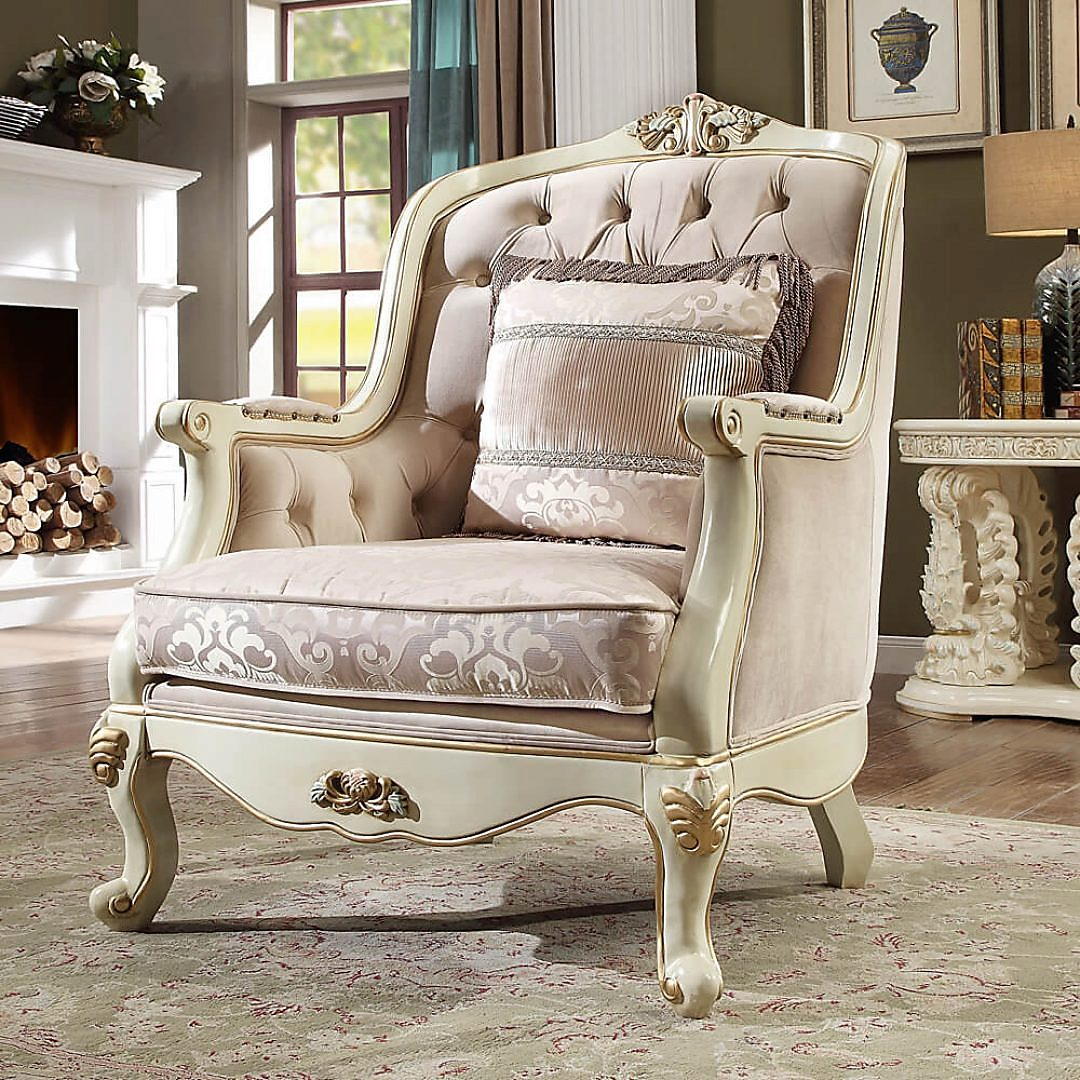 Traditional Chair in Beige Fabric Traditional Style Homey Design HD-2011