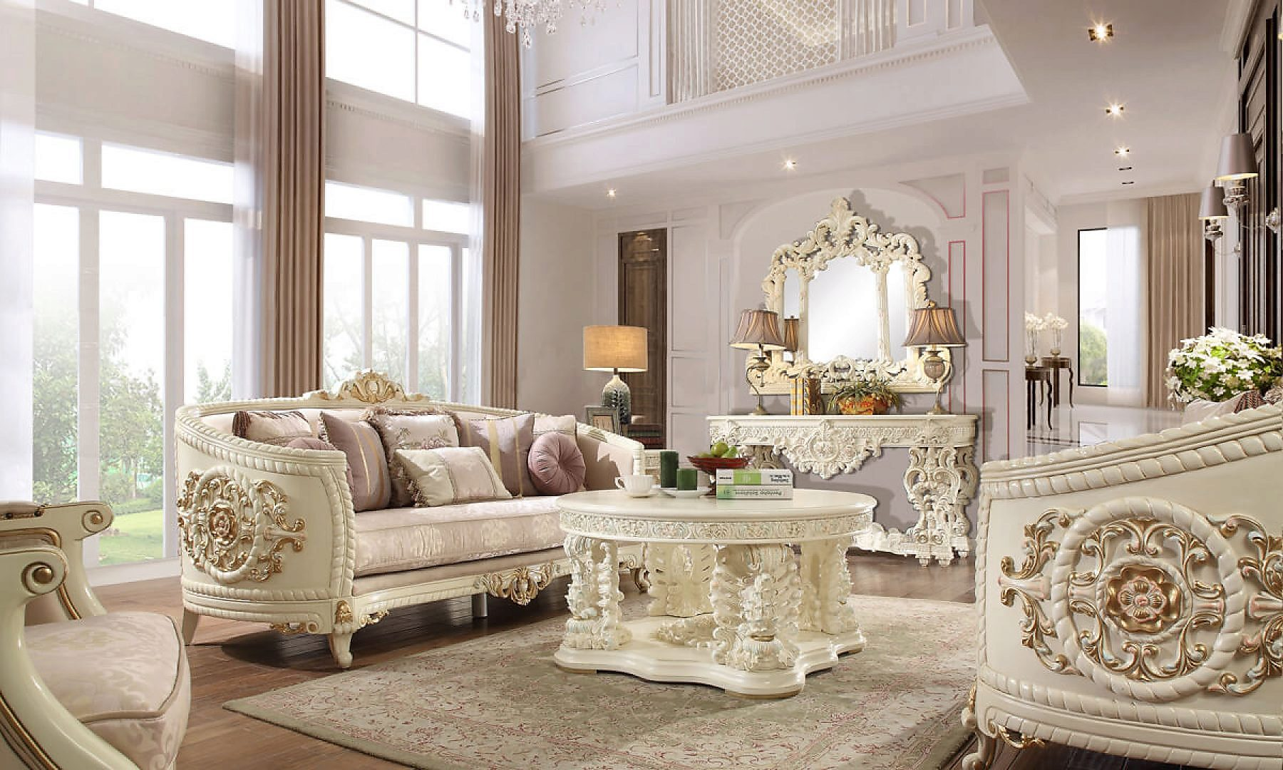 Traditional Living Room Set 3 PCS in Beige Fabric Traditional Style Homey Design HD-2011