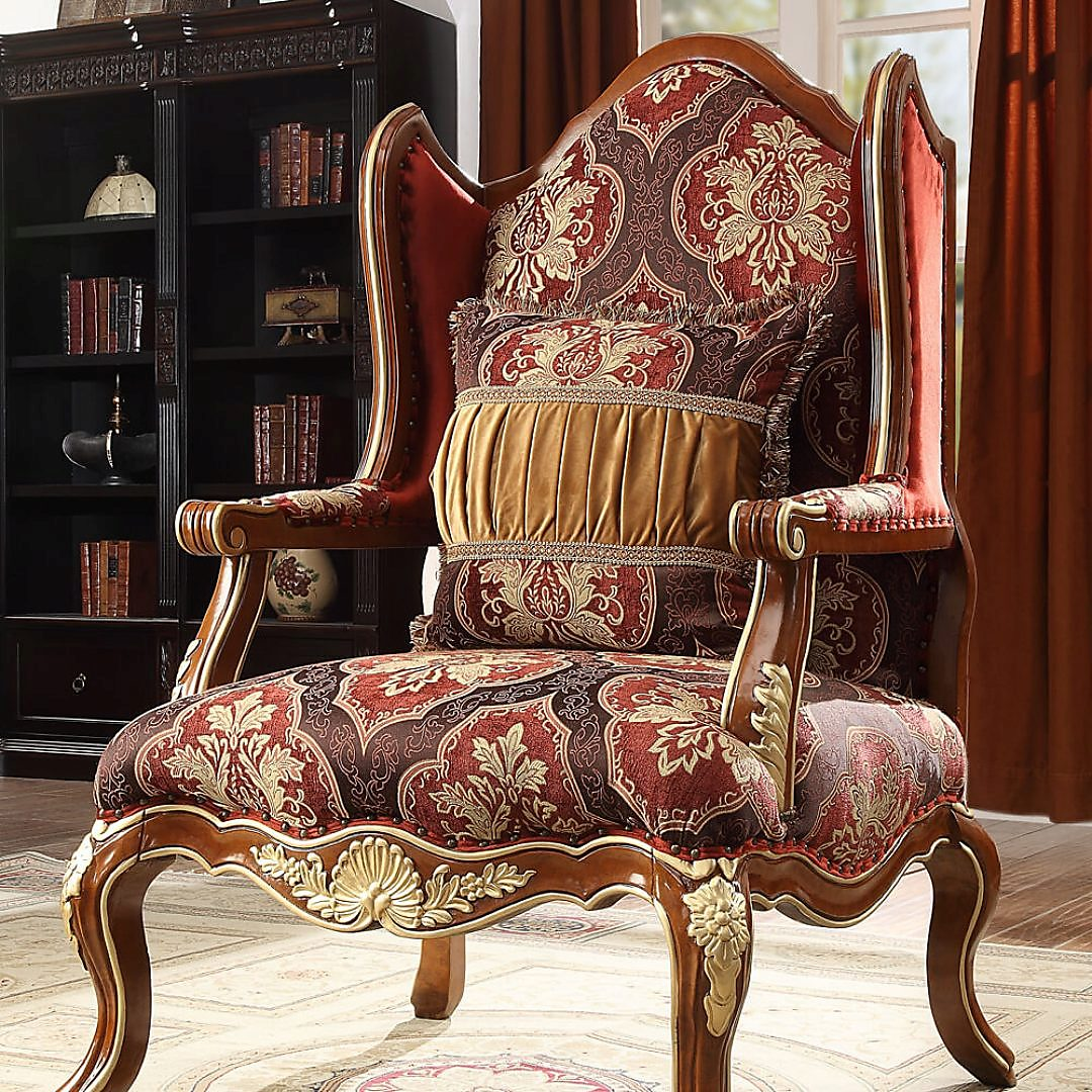 Traditional Chair in Brown Fabric Traditional Style Homey Design HD-2575