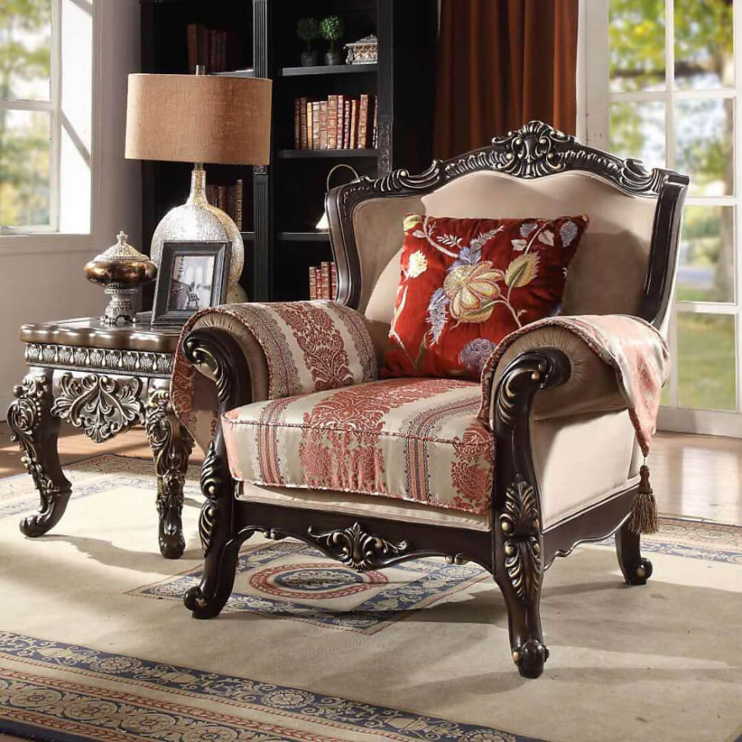 Traditional Chair in Brown Fabric Traditional Style Homey Design HD-2638