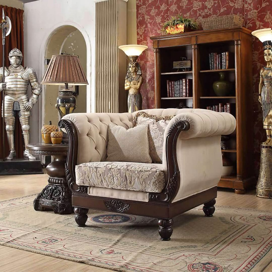 Traditional Chair in Brown Fabric Traditional Style Homey Design HD-2651