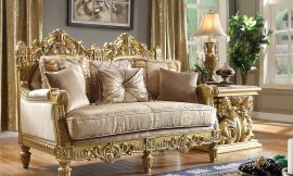 Traditional Loveseat in Yellow Fabric Traditional Style Homey Design HD-2659