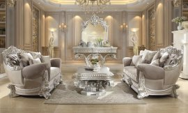 Traditional Living Room Set 3 PCS in Gray Fabric Traditional Style Homey Design HD-372
