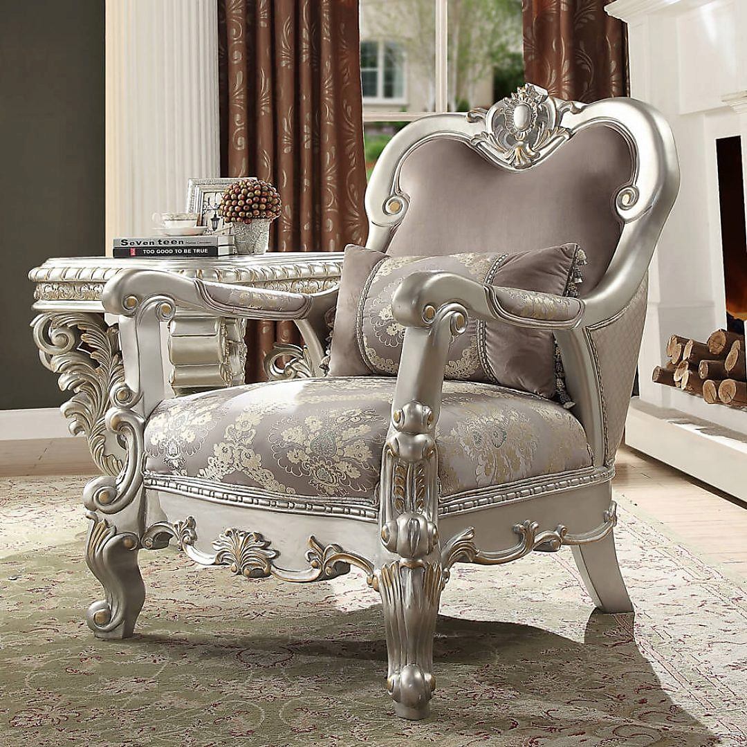Traditional Chair in Gray Fabric Traditional Style Homey Design HD-372