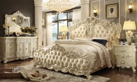 Traditional Eastern King Bedroom Set 5 PCS in Beige Leather Traditional Style Homey Design HD-5800