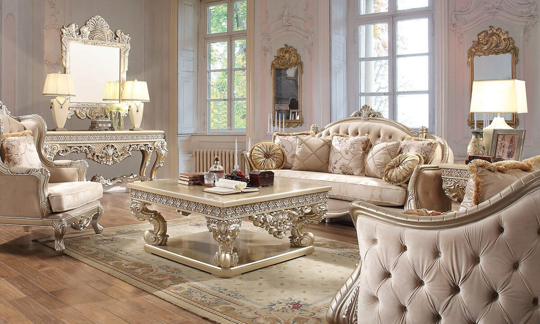 Traditional Living Room Set 3 PCS in Beige Fabric Traditional Style Homey Design HD-661