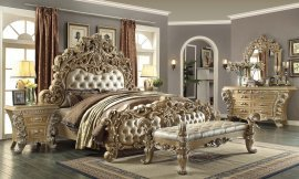 Traditional Eastern King Bedroom Set 5 PCS in Gray Leather Traditional Style Homey Design HD-7012