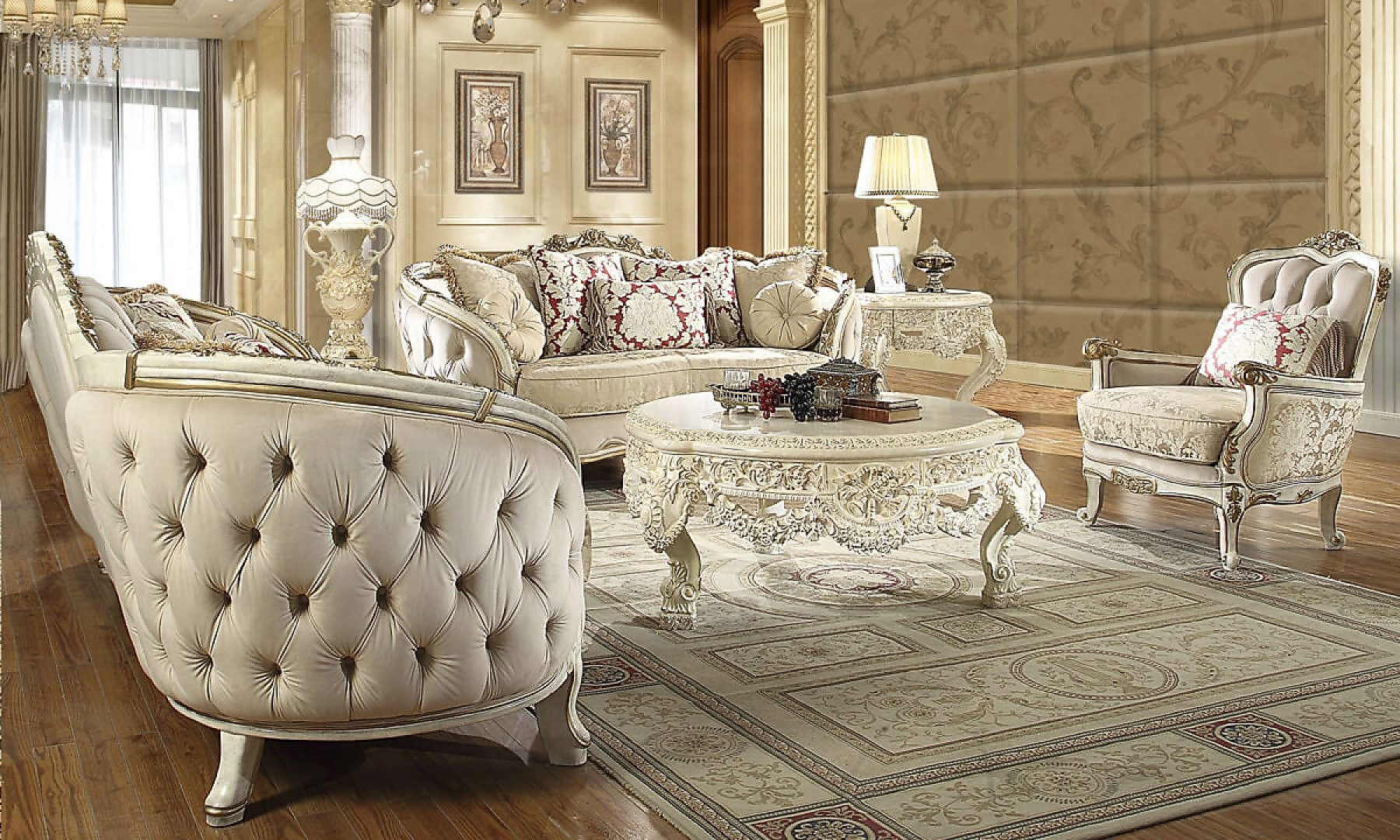 Traditional Living Room Set 3 PCS in Beige Fabric Traditional Style Homey Design HD-7310