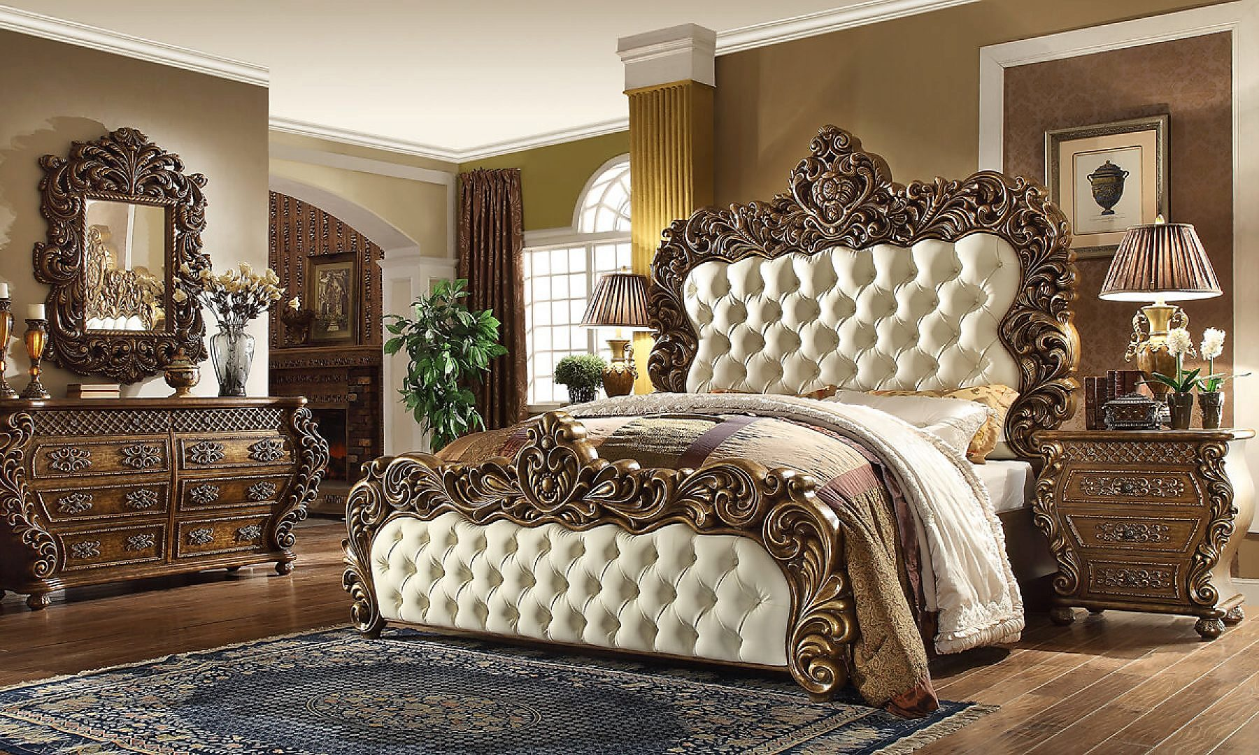 Traditional Eastern King Bedroom Set 5 PCS in Brown with White Leather Traditional Style Homey Design HD-8011