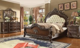 Traditional Bedroom Set 5 PCS in Brown Leather Traditional Style Homey Design HD-8013