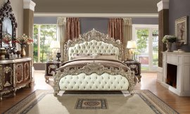 Traditional Bedroom Set 5 PCS in Gray Leather Traditional Style Homey Design HD-8017