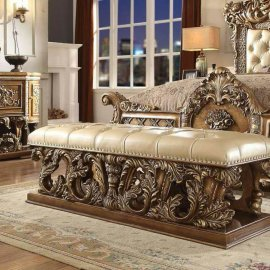 Traditional Bench in Brown Leather Traditional Style Homey Design HD-8018