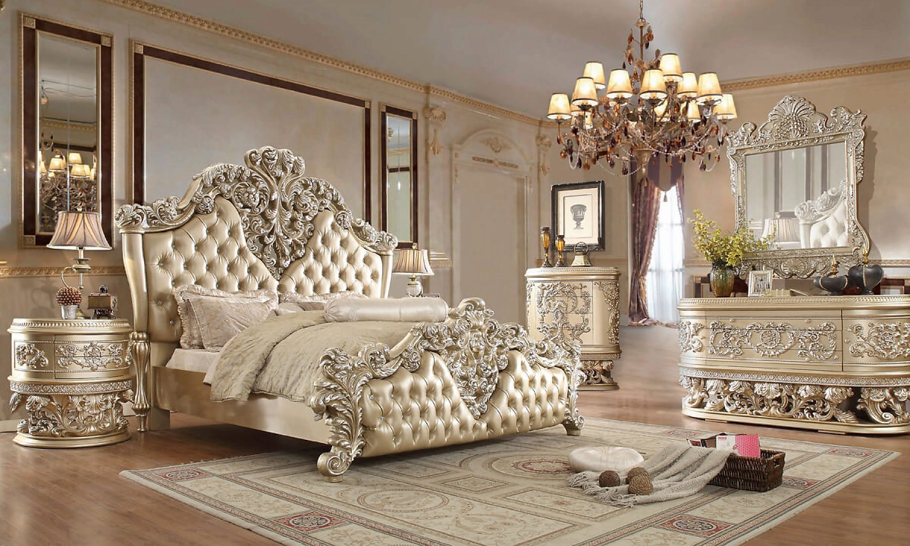 Traditional Eastern King Bedroom Set 5 PCS in Gray Leather Traditional Style Homey Design HD-8022