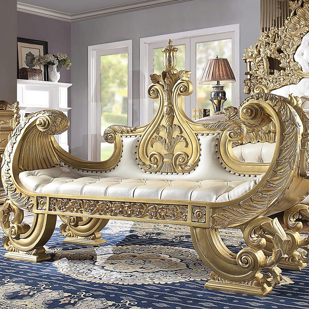 Traditional Bench in Yellow Leather Traditional Style Homey Design HD-8086
