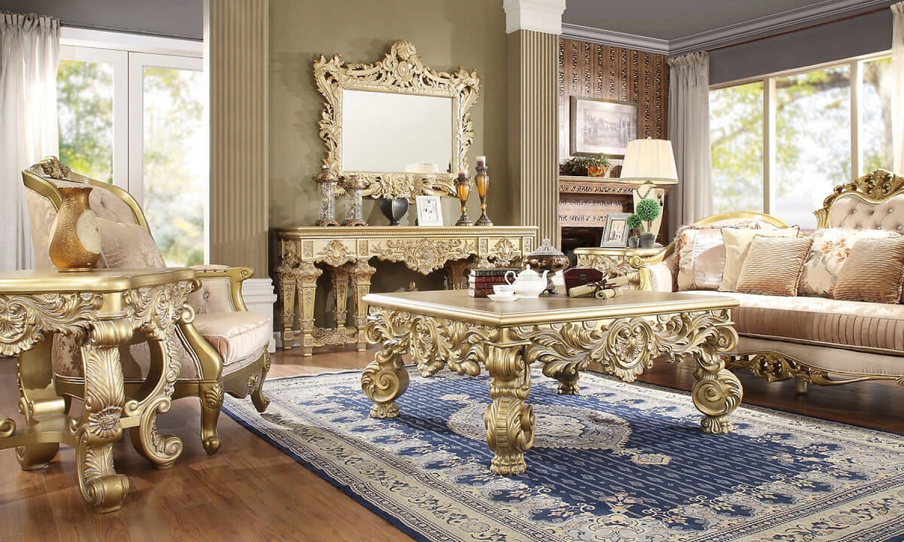 Traditional Coffee Table Set 3 PCS in Yellow Wood Traditional Style Homey Design HD-8086