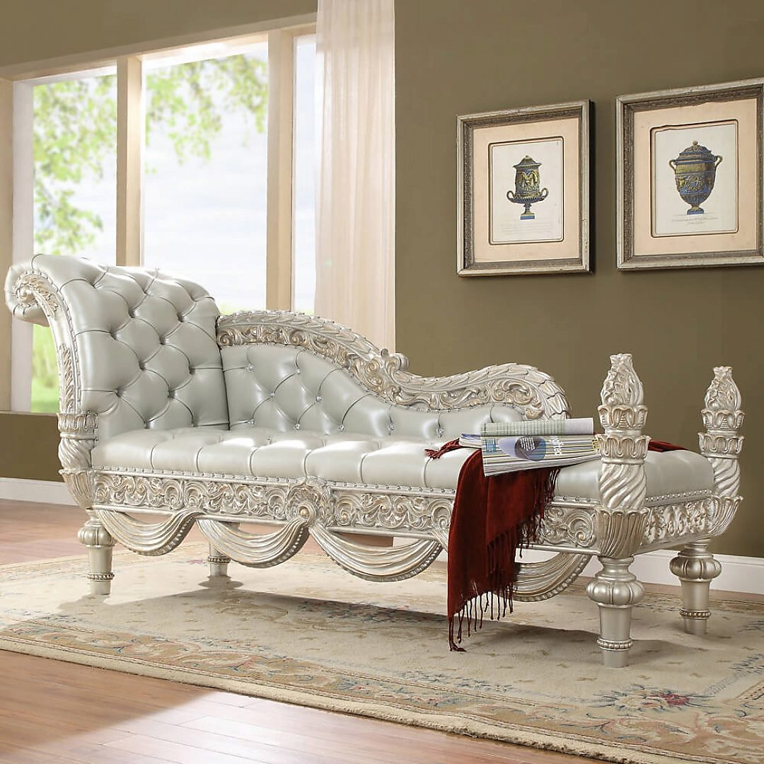 Traditional Bench in Gray Leather Traditional Style Homey Design HD-8088