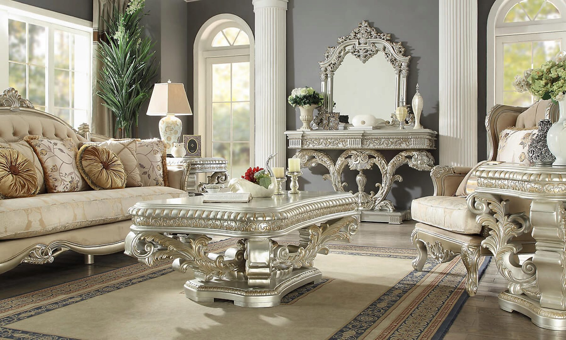 Traditional Coffee Table Set 3 PCS in Gray Wood Traditional Style Homey Design HD-8088