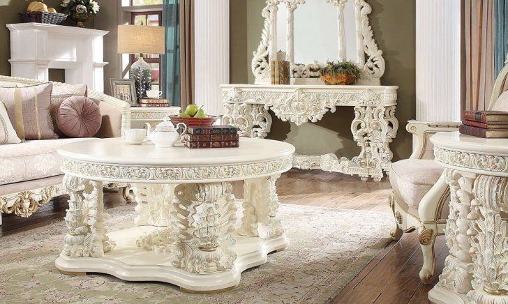Coffee Table Set 3 Pcs In White Wood