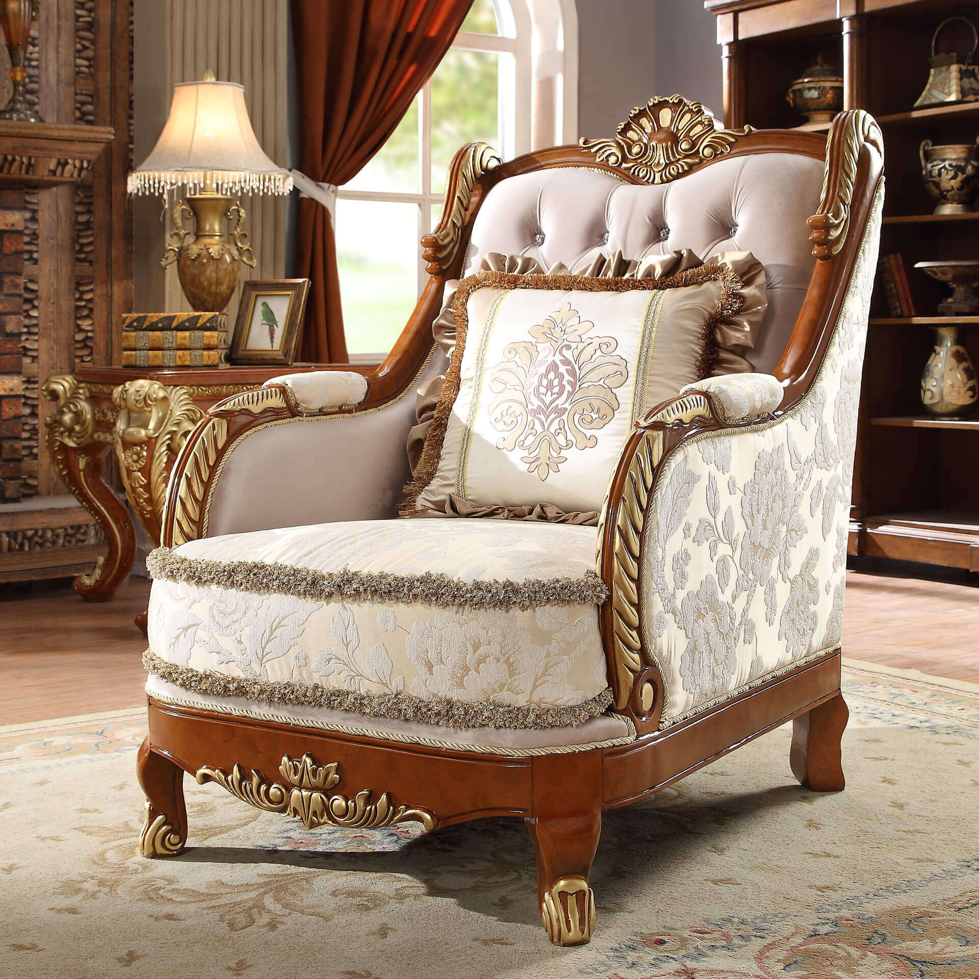 Traditional Chair in Yellow Fabric Traditional Style Homey Design HD-814